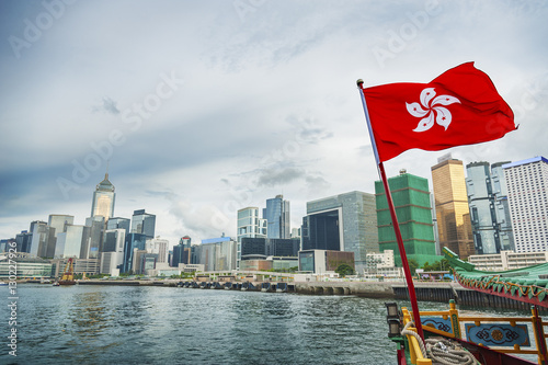 Hong Kong Flag with skyscraper background