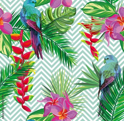 Beautiful seamless tropical jungle floral pattern background with palm leaves, flowers and beautiful exotic parrots. Vector illustration. Abstract striped geometric texture © mary_stocker