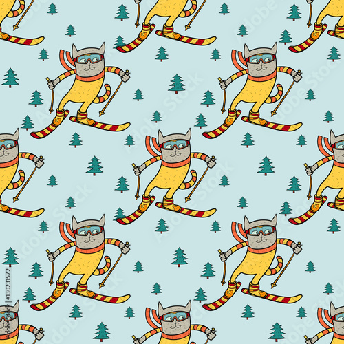 Materiał do szycia Cat skiing in the forest. Winter sport pattern