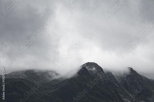 Gloomy mountain landscape. Matte photo processing. - 130242394