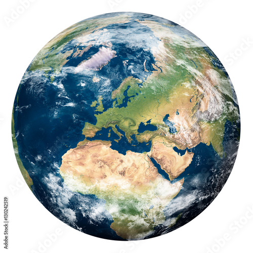 Foto Murales Planet Earth with clouds, Europe and part of Asia and Africa - Pianeta Terra con nuvole, Europa e parte di Asia e Africa