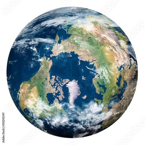 Poster Nasa Planet Earth with clouds, North Pole - Pianeta Terra con nuvole, Polo Nord