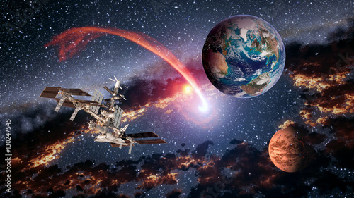 Foto op Canvas UFO Space shuttle ship satellite spaceship Earth spacecraft planet Mars international station. Elements of this image furnished by NASA.