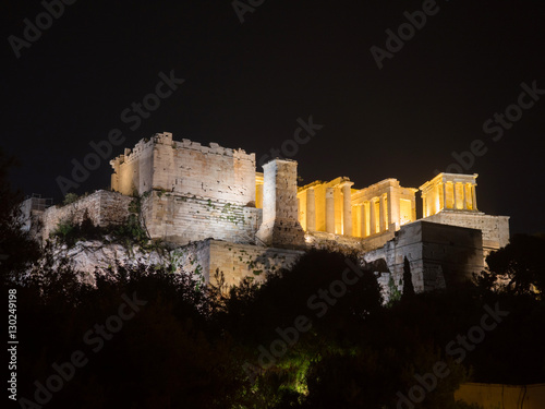 Poster Athene Acropolis hill with Parthenon in Athens Greece