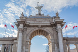 Closeup view of Princes Gates  at Exhibition Place (CNE) on February 06, 2016 in Toronto, Canada  Exhibition Place is a mixed-use district in Toronto.