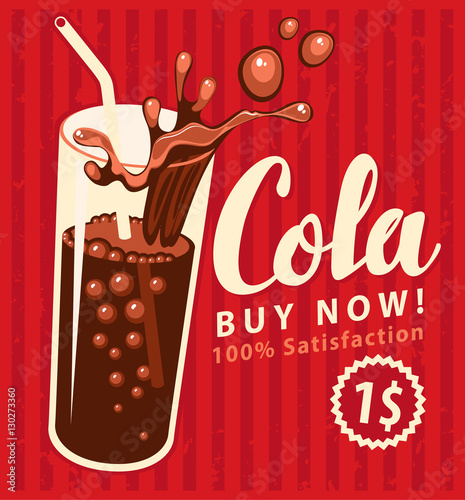 vector banner with cola drink glass in retro style Poster