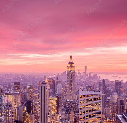 Aluminium View of New York Manhattan during sunset hours