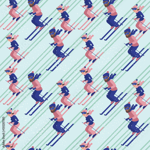 Cotton fabric People skiing seamless pattern