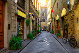 Narrow cozy street in Florence, Tuscany. Italy