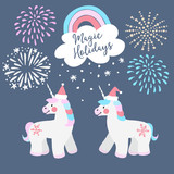Cute Christmas greeting card, invitation. Little unicorns with Santa hats, rainbow and falling snow. Festive fairytale elements with fireworks. Isolated vector objects. Flat design.