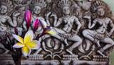 Frangipani flowers on background of Asian art background