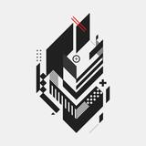 Fototapety Abstract design element on white background. Geometric modern art graffiti style.