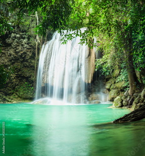 Erawan waterfall, the beautiful waterfall in forest at Erawan National Park - A beautiful waterfall on the River Kwai. Kanchanaburi, Thailand - 130333103