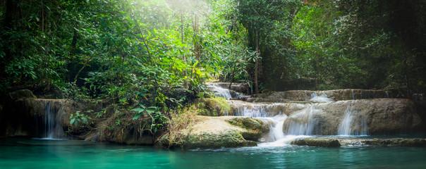 Panorama Erawan waterfall, the beautiful waterfall in forest at Erawan National Park - A beautiful waterfall on the River Kwai. Kanchanaburi, Thailand © touch_of_eyes