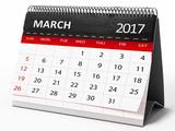 March 2017 desktop calendar. 3D illustration