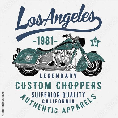 vintage american chopper motorcycle sketch illustration