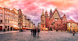Wroclaw Market Square with Town Hall during sunset evening, Pola - 130345574