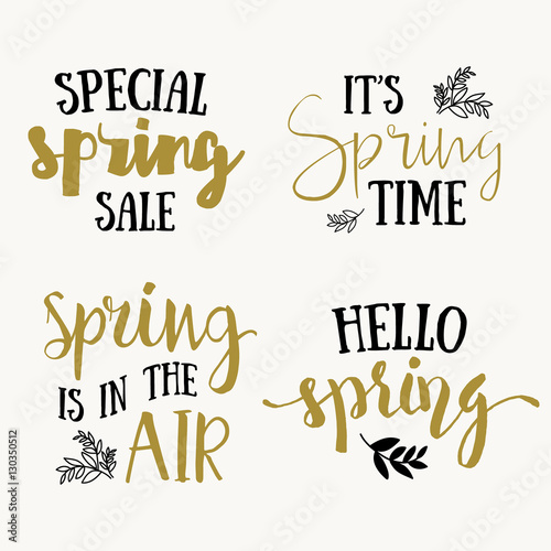 Fototapeta It's Spring time hand drawn brush lettering, black and gold isolated on white. Vector design lettering for spring sales, banners, advertisement, posters, prints, greeting cards, t-shirts