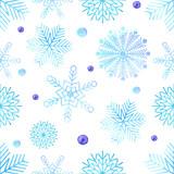 Watercolour snowflakes seamless pattern - 130360154
