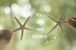 """Inspirational quote """"you are not alone"""" on blurred background"""