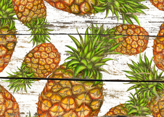Pineapples on white wood texture