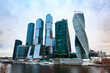 Skyscrapers on embankment  in downtown. Moscow International Business Center.