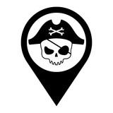 Icono plano localizacion calavera pirata negro