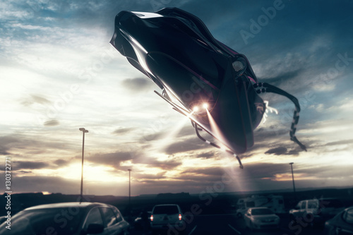 UFO above road with traffic Poster