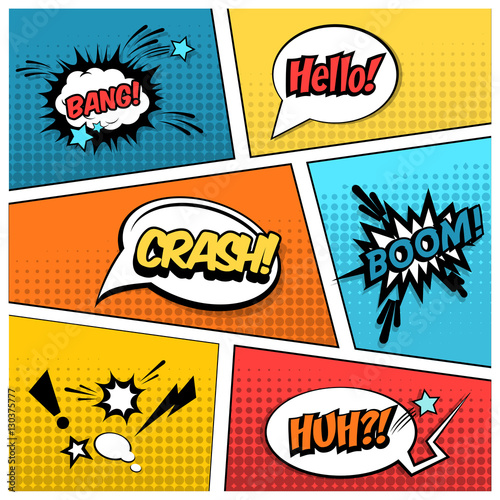 Fotobehang Pop Art mock-up of a typical comic book page with various speech bubbles, symbols and sound effects and colored Halftone Background. Comic sound effects in pop art vector style.