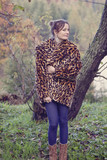 Girl wearing artificial fur
