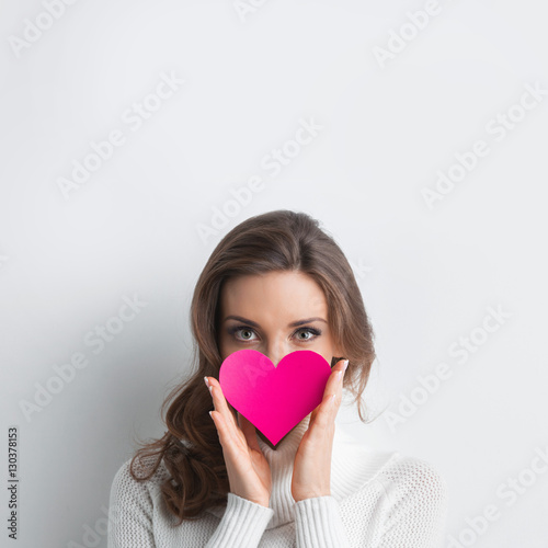 Woman with Valentines day heart