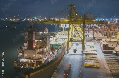 Industrial port with containers Poster