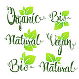 organic, bio, natural and vegan lettering for your organic food