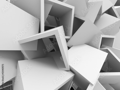 Abstract White Cubes Wall Background.