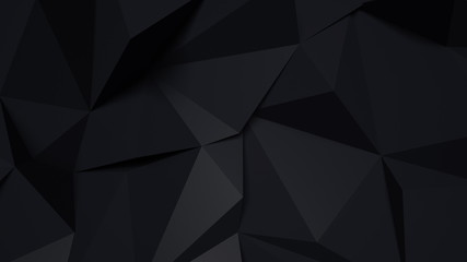Stylish black background with abstract shapes. 3D illustration,