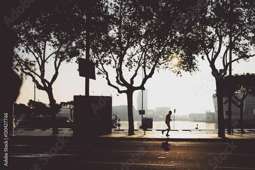 Poster Christmas morning in Barcelona, runner silhouette