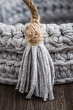Gray Decorative Knitted Basket