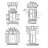 Set of retro windows. Art Nouveau. Art Modern. Jugendstil.  A picture on white background. Hand drawing illustration. - 130432372