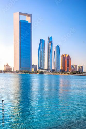 Foto Spatwand Abu Dhabi Skyscrapers in the evening, Abu Dhabi, United Arab Emirates
