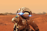 Spaceman walks on the red planet Mars. Space Mission. Astronaut - Fine Art prints