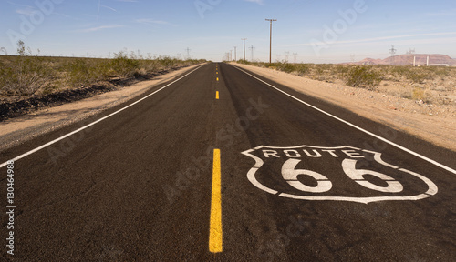 Fotobehang Route 66 Rural Route 66 Two Lane Historic Highway Cracked Asphalt