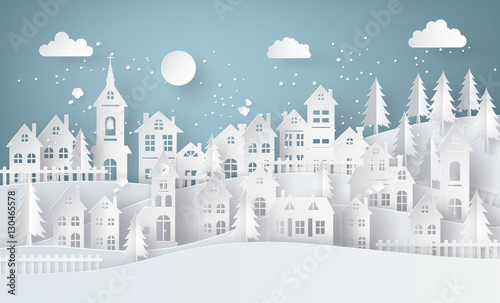 Winter Snow Urban Countryside Landscape City Village with moon