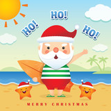 Merry Christmas greetings of cute cartoon santa claus wearing tank top, short pants  slippers holding surfboard together with cute starfish. Summer Christmas vector illustration. Happy holiday.