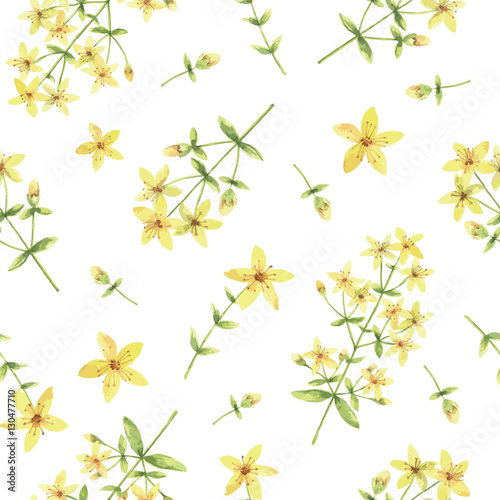 Cotton fabric Watercolor vector seamless pattern with St Johns wort flowers and branches.