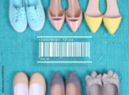Keuken foto achterwand Boodschappen Barcode on blurred female fashion shoes background. Wholesale and retail concept.