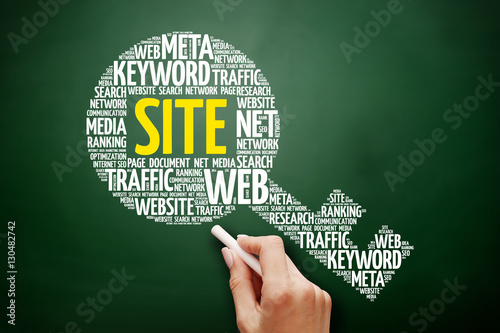 SITE key word cloud collage, business concept on blackboard Poster