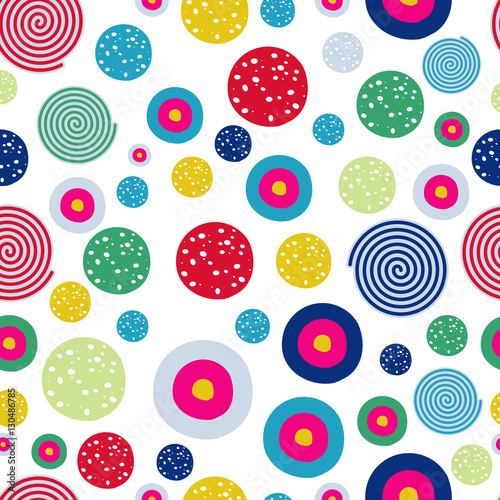 Materiał do szycia Polka dots kids seamless pattern with doodle texture