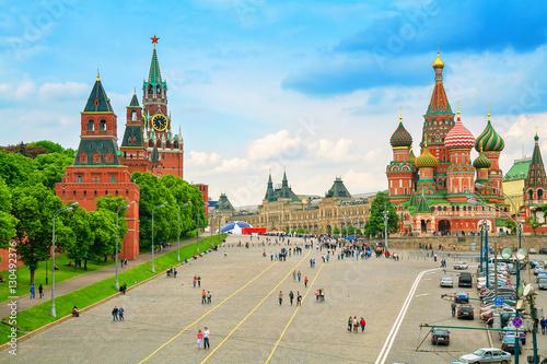 Kreml i katedra św. Bazylego na Placu Czerwonym w Moskwie,
