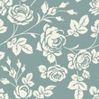 Seamless pattern with rose silhouettes. Vintage flowers