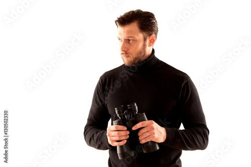 Poster Mann mit Frenglas und schwarzem Pulli